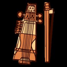 Instrumento musical indio sarangi dibujado a mano