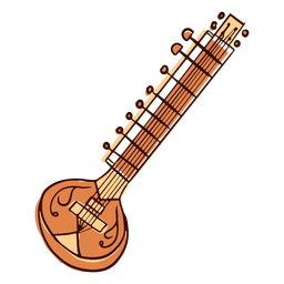 Indian musical instrument sitar variant hand drawn