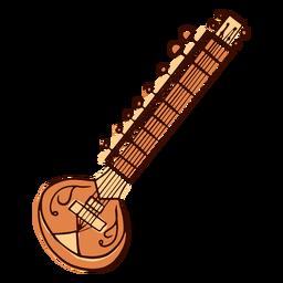 Instrumento musical indio variante sitar dibujado a mano
