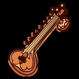 Instrumento musical indio sitar dibujado a mano