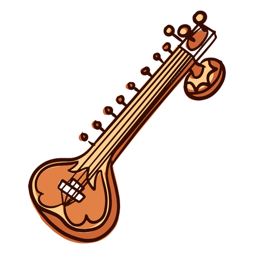Indian musical instrument sitar hand drawn Transparent PNG