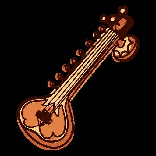 Indian musical instrument sitar hand drawn