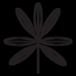 Traço fino elíptico geométrico de folha