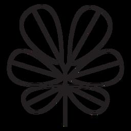 Hoja geométrica elíptica gruesa seis trazos