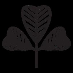 Hoja geométrica gruesa trazo forrado en forma de corazón