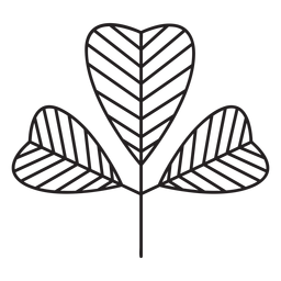 Leaf geometric thick heart shaped lined stroke