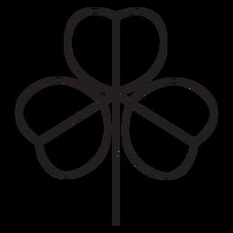 Hoja geométrica delgada en forma de corazón de tres tiempos