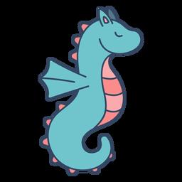 Monstruo caballo de mar plano