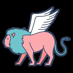 Monstruo león alado plano