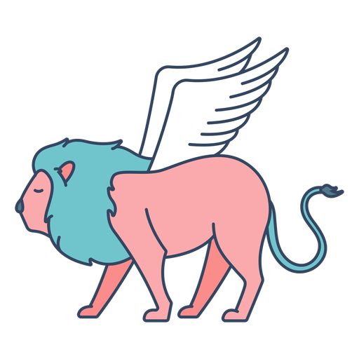 Monster winged lion flat