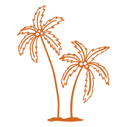 Palm coconut tree hand drawn
