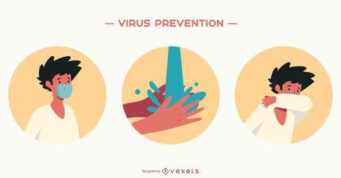 Conjunto de ilustração de prevenção de vírus