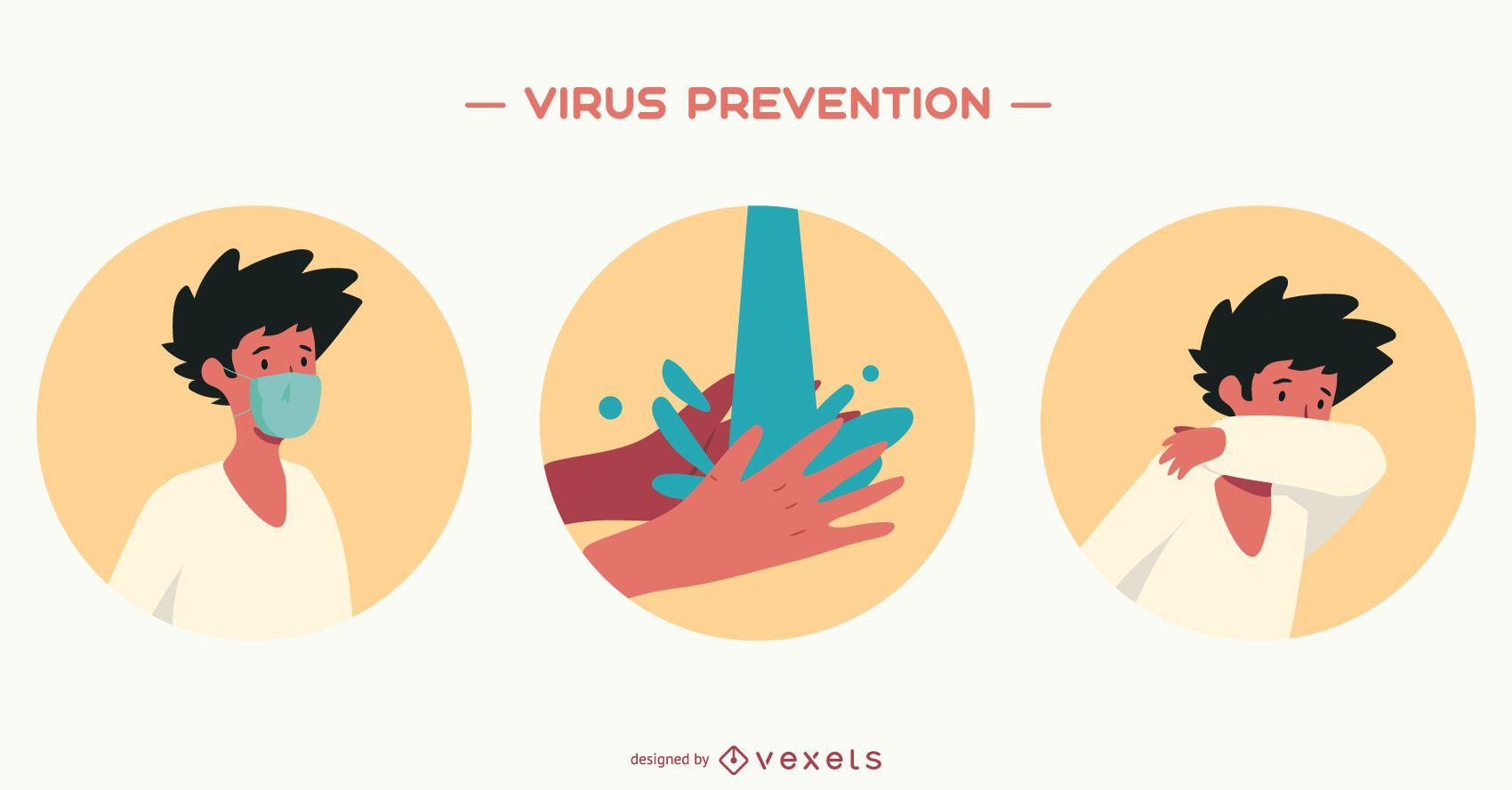 Conjunto de ilustración de prevención de virus