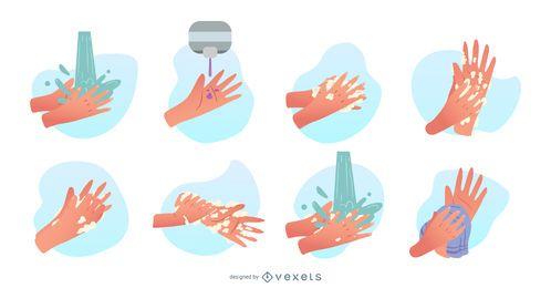 Conjunto de ilustração de mãos a lavar
