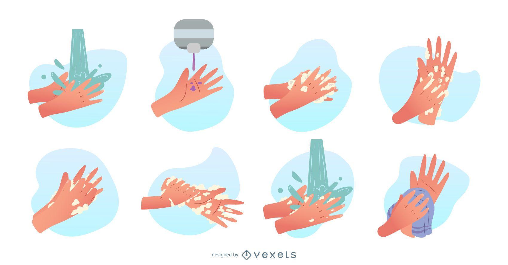 Washing hands illustration set