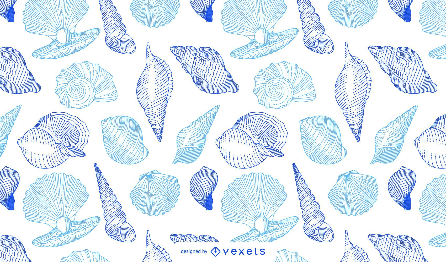 Diseño de patrón de conchas marinas