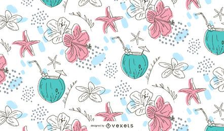 Hand drawn summer pattern