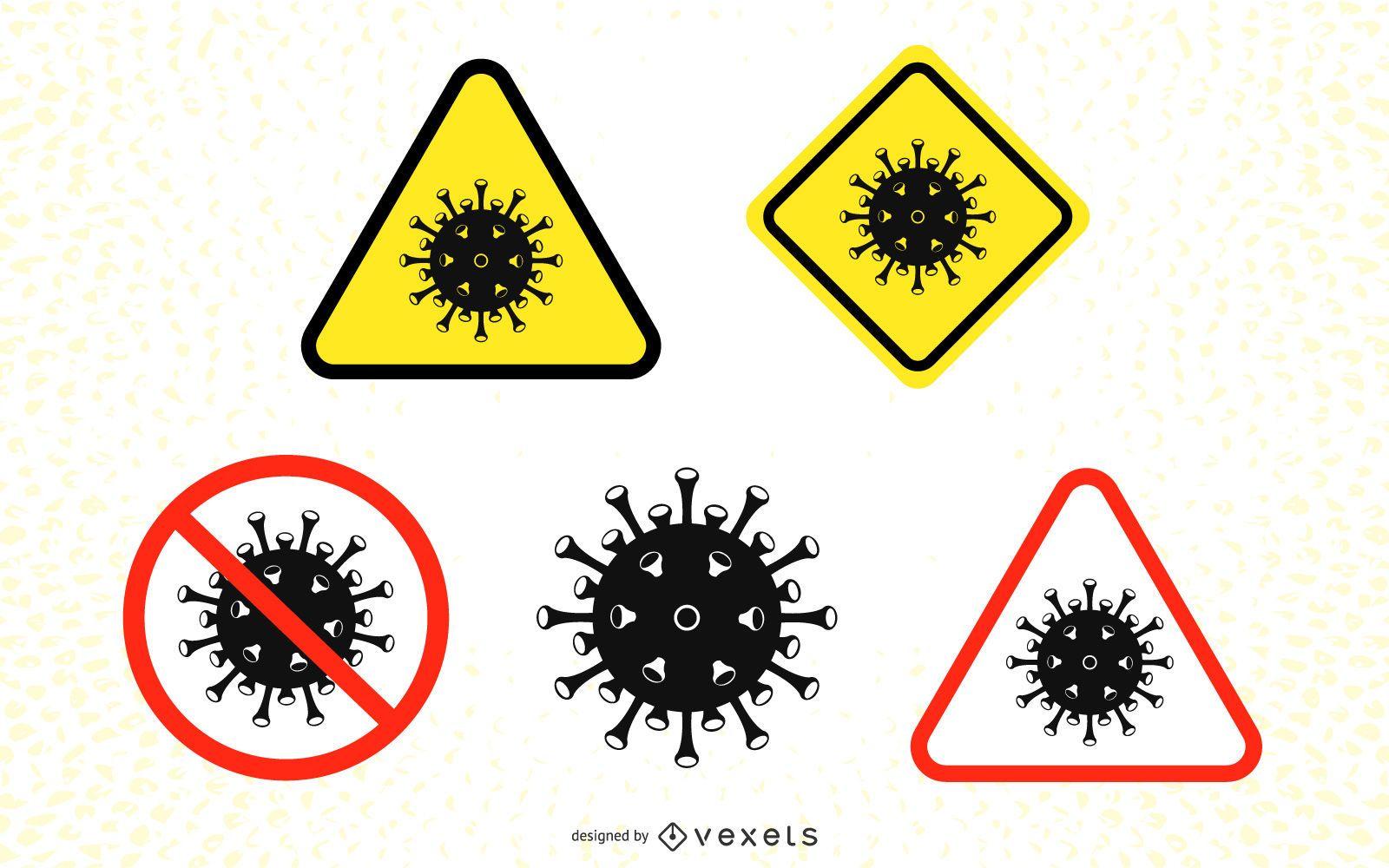 Conjunto de señales de precaución de coronavirus