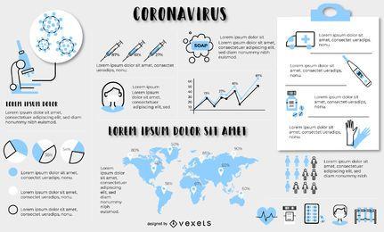 Plantilla de elementos infográficos de coronavirus