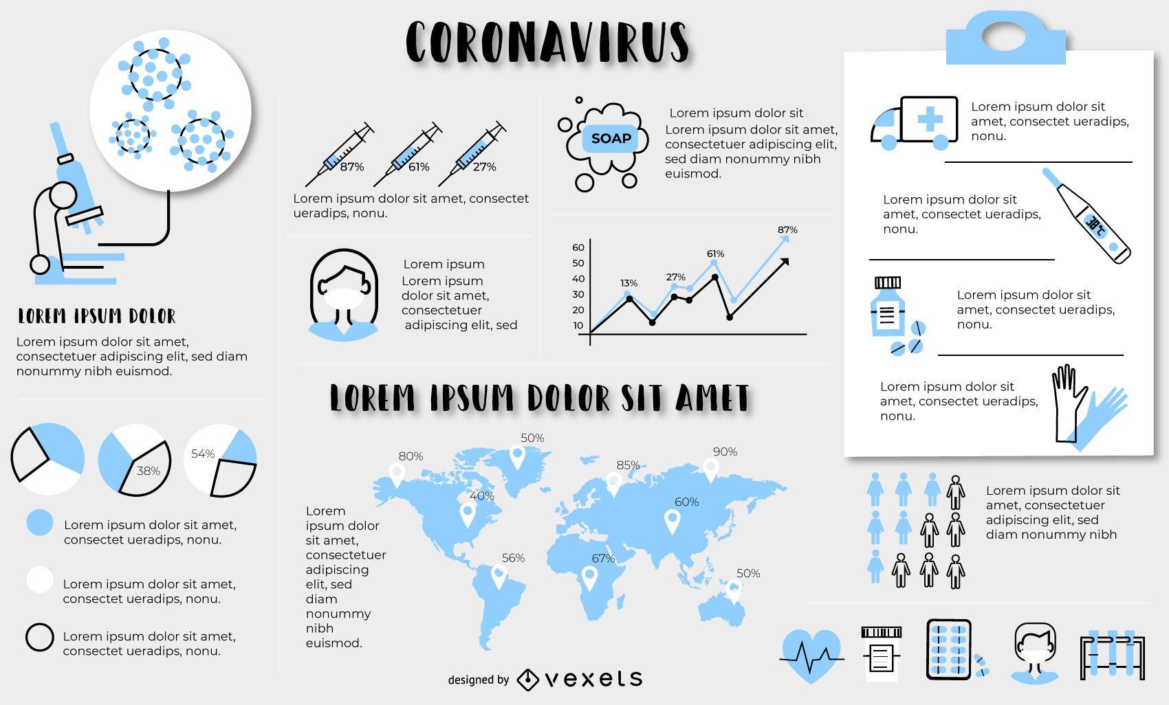 Plantilla de elementos infogr?ficos de coronavirus