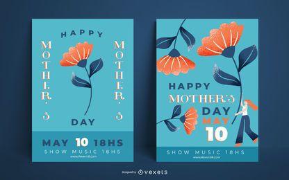 Conjunto de plantillas de carteles del día de la madre