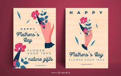 Conjunto de carteles de feliz día de la madre