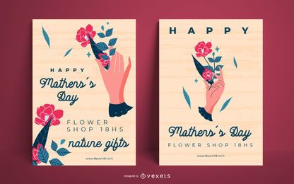 Feliz dia das mães cartaz conjunto