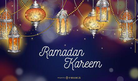 Fondo de luces de Ramadán Kareem