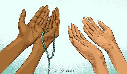 Ilustración de manos de oración de Ramadán