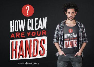 Diseño de camiseta de cotización de manos limpias de Coronavirus