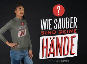 Diseño de camiseta alemana Coronavirus Hands Clean