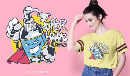 Super Hand Sanitizer Cartoon T-shirt Design