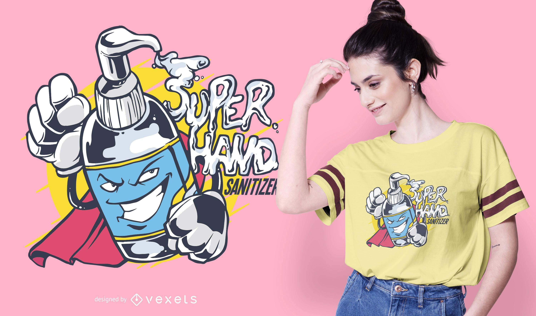Super Hand Sanitizer Cartoon T-shirt Design