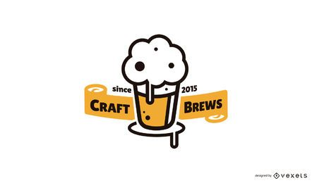 Craft brews beer logo template
