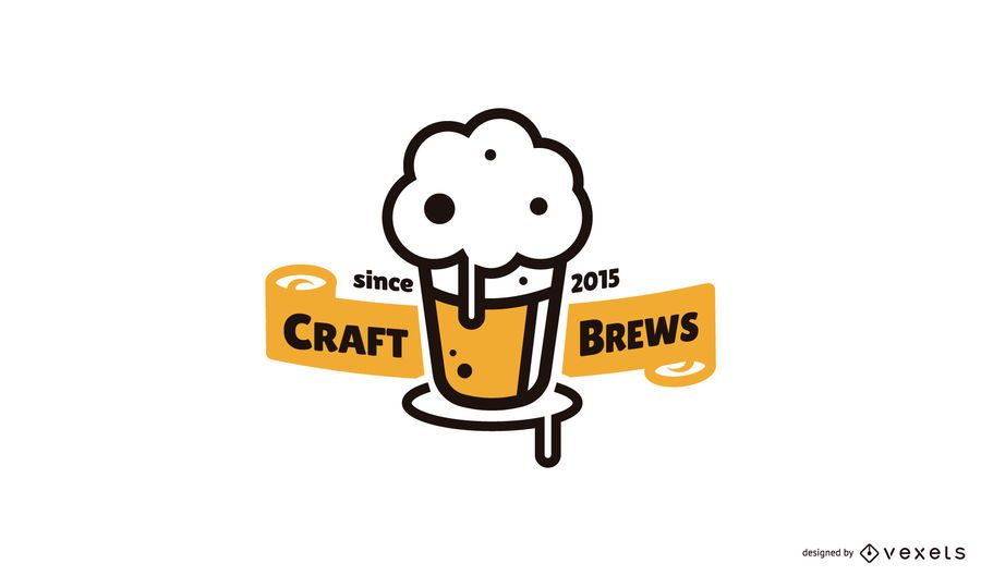 Craft brews beer logo template