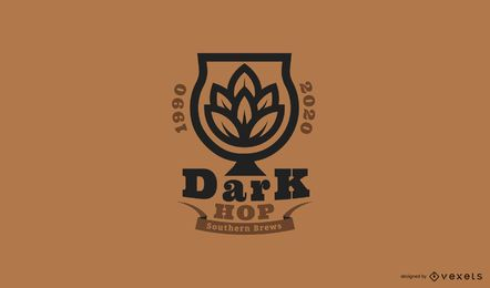 Dark hop beer logo template