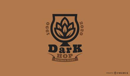 Modelo de logotipo de cerveja hop escuro