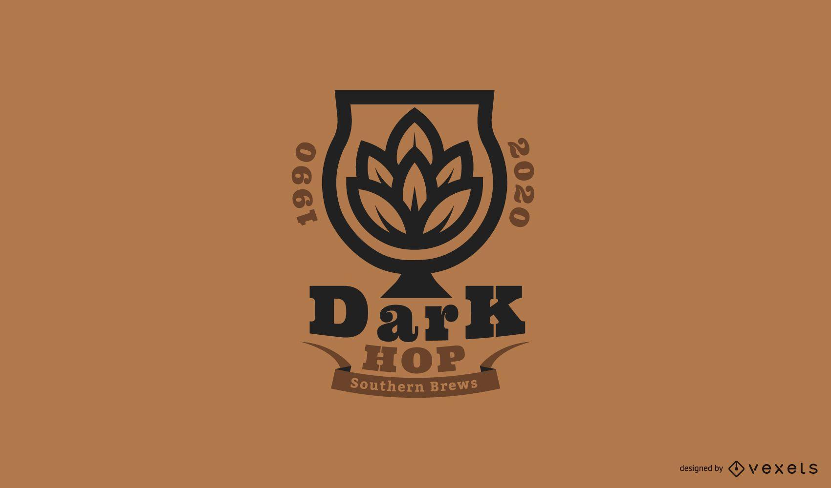 Plantilla de logotipo de cerveza dark hop