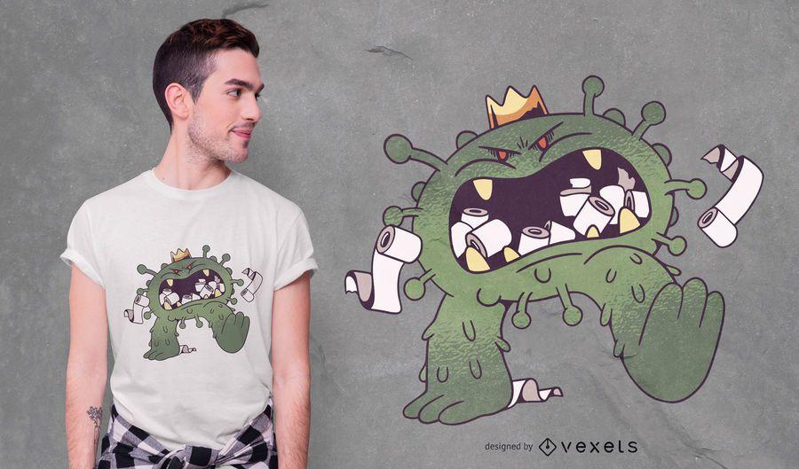 Diseño de camiseta de coronavirus comiendo papel higiénico