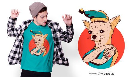 Design de camiseta com tatuagem de mãe chihuahua