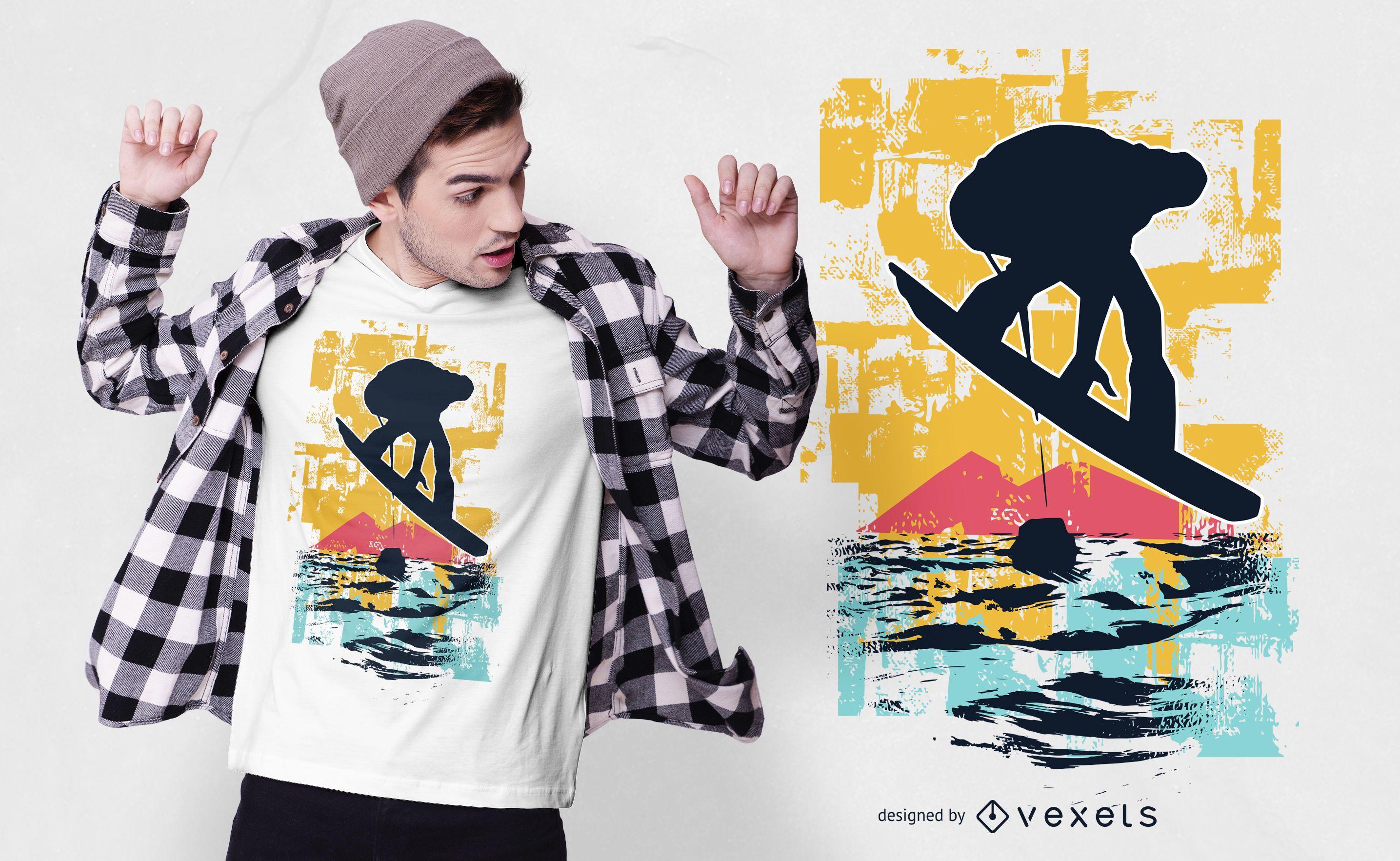 Dise?o de camiseta Sunset Snowboarder