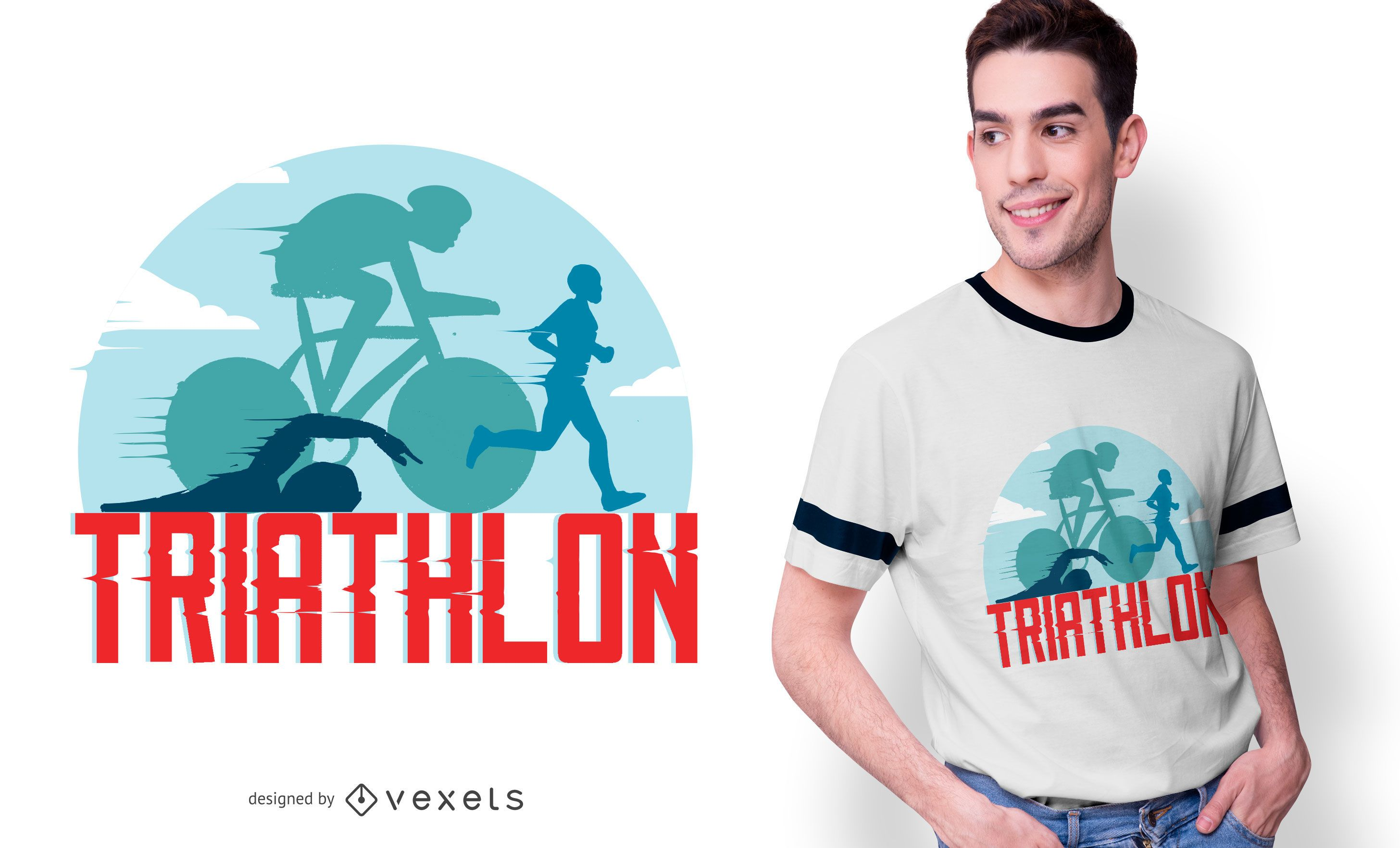 Dise?o de camiseta deportiva de triatl?n.