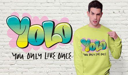 Design de camisetas com citações de YOLO