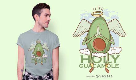 Diseño de camiseta de dibujos animados de guacamole santo