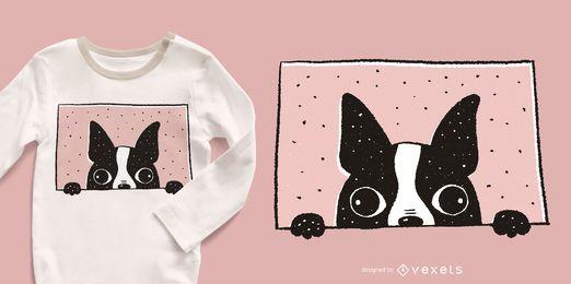 Diseño de camiseta Boston Terrier Peeking