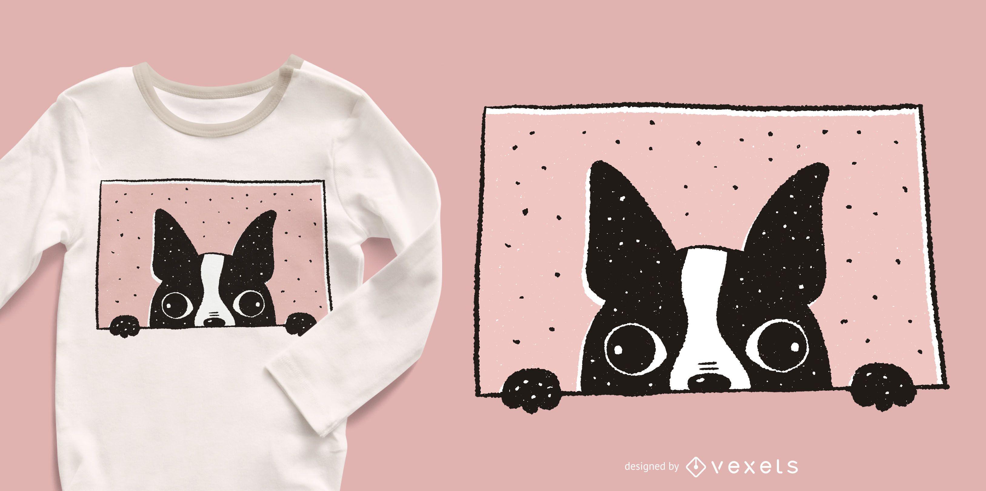 Boston Terrier Peeking T-shirt Design