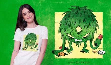 Projeto do t-shirt do monstro de Coronavirus