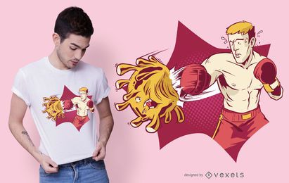Diseño de camiseta Boxer Fighting Coronavirus
