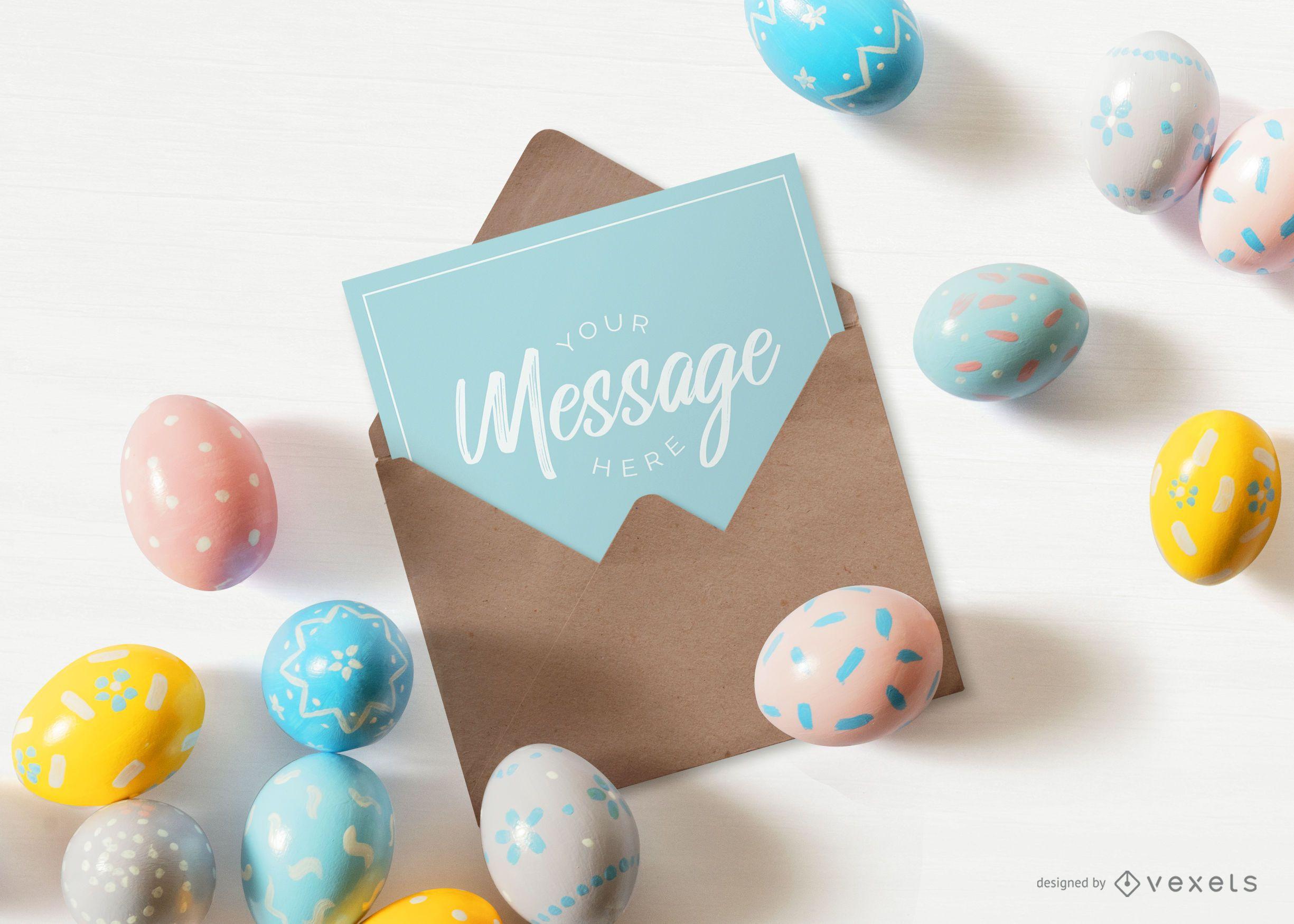 Easter envelope letter mockup