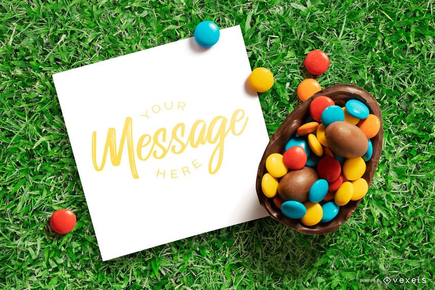 Easter card mockup design